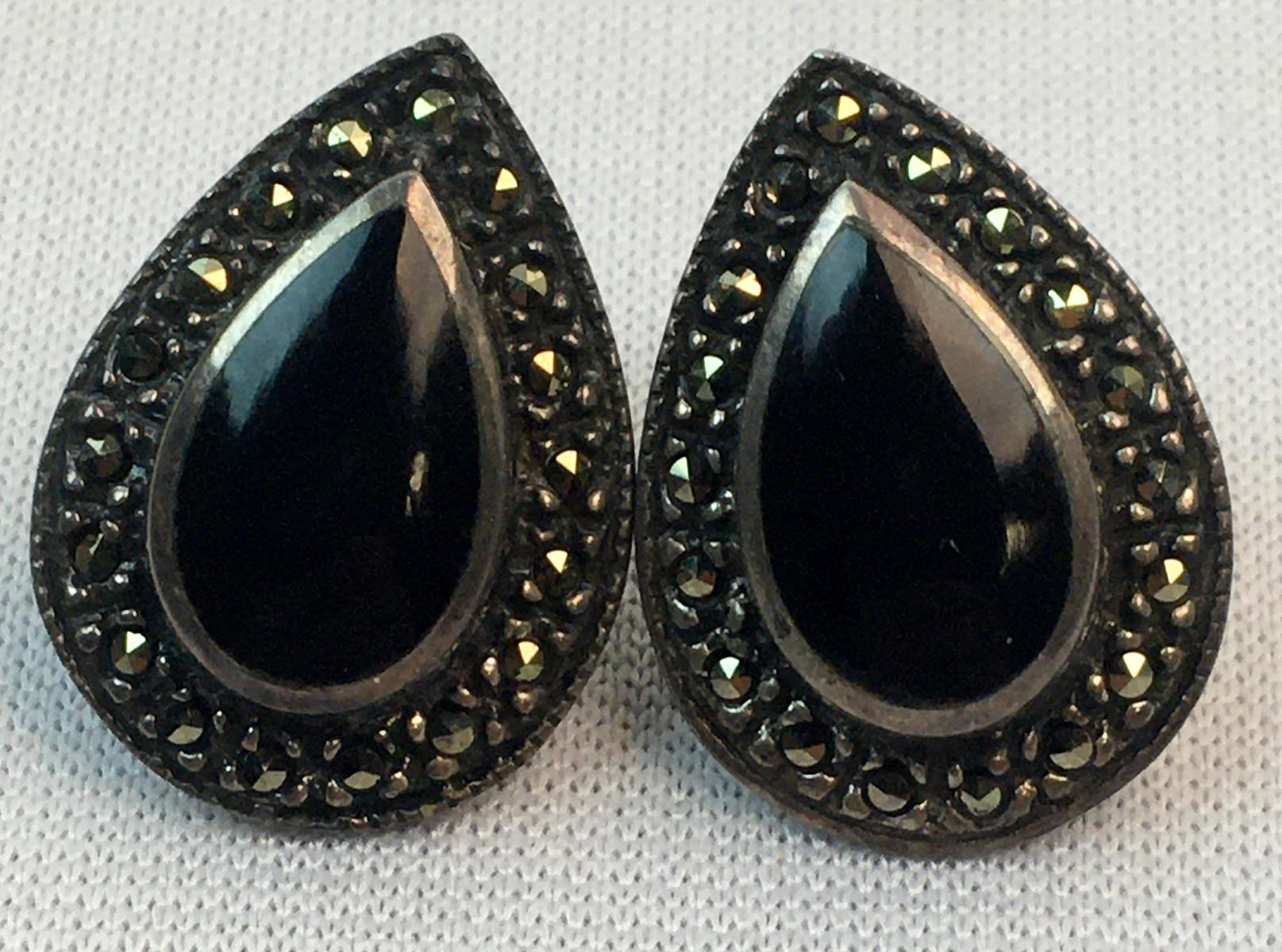 Vintage Sterling Silver Onyx & Marcasite Teardrop Pierced Earrings