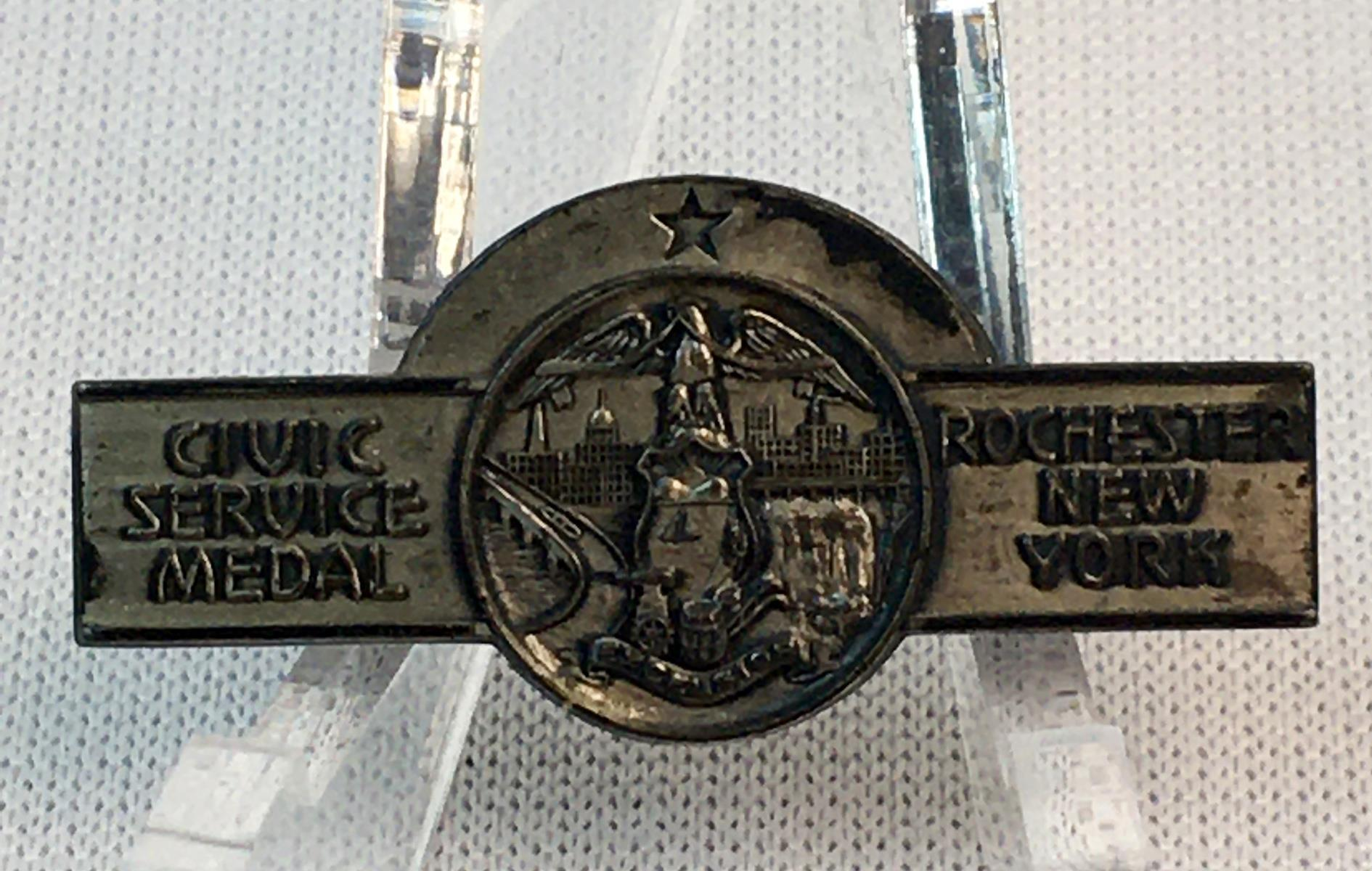 Vintage Sterling Silver Rochester, New York Civic Service Medal Pin