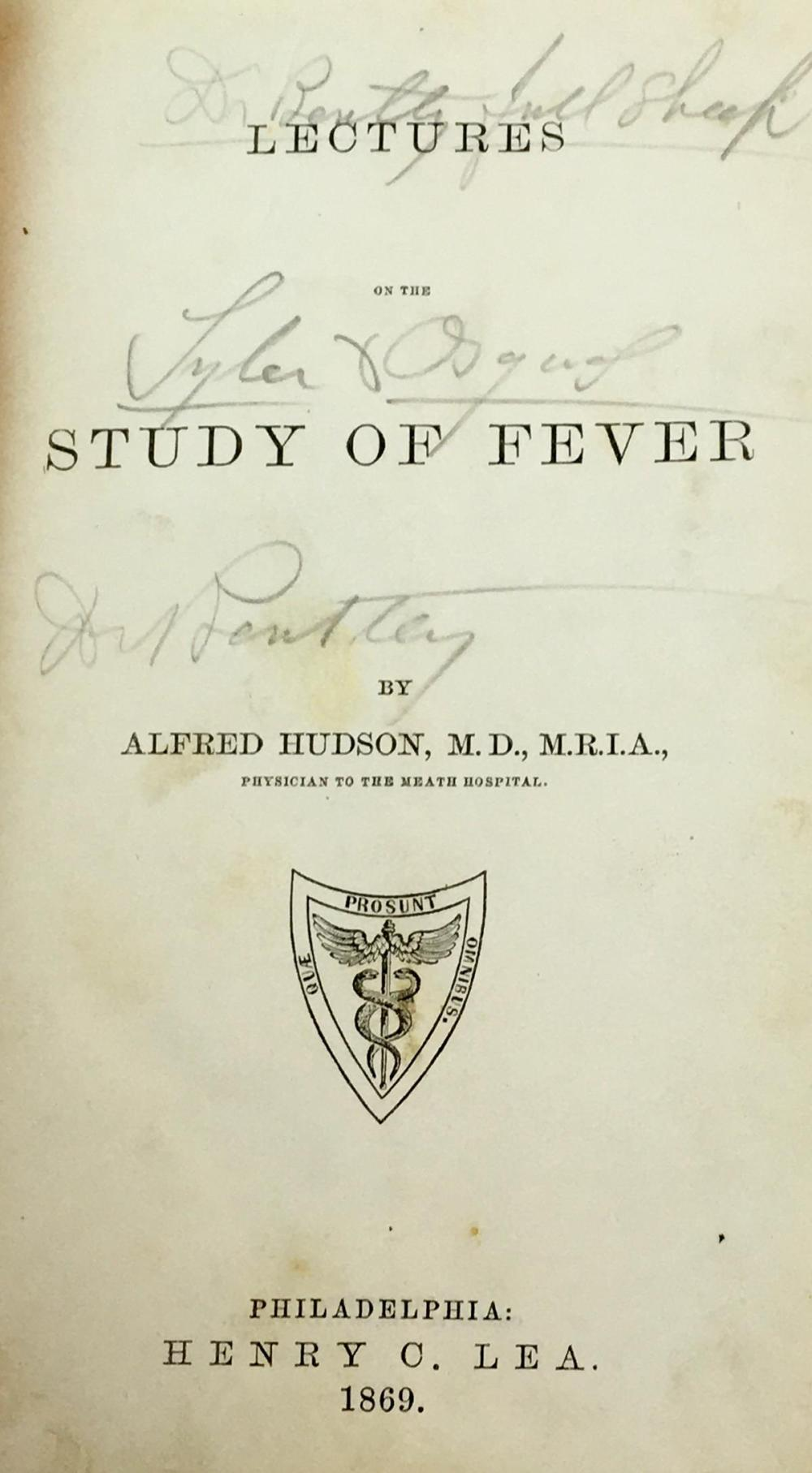 1869 Lectures on the Study of Fever by Alfred Hudson, MD. Leather Bound Book