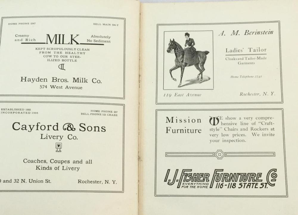 1908 Rochester Society Blue Books Directory (Rochester, New York)
