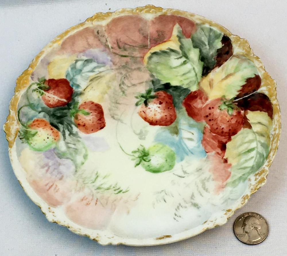 Antique Royal Crown Bavaria Claire Hand Painted Strawberry Plate