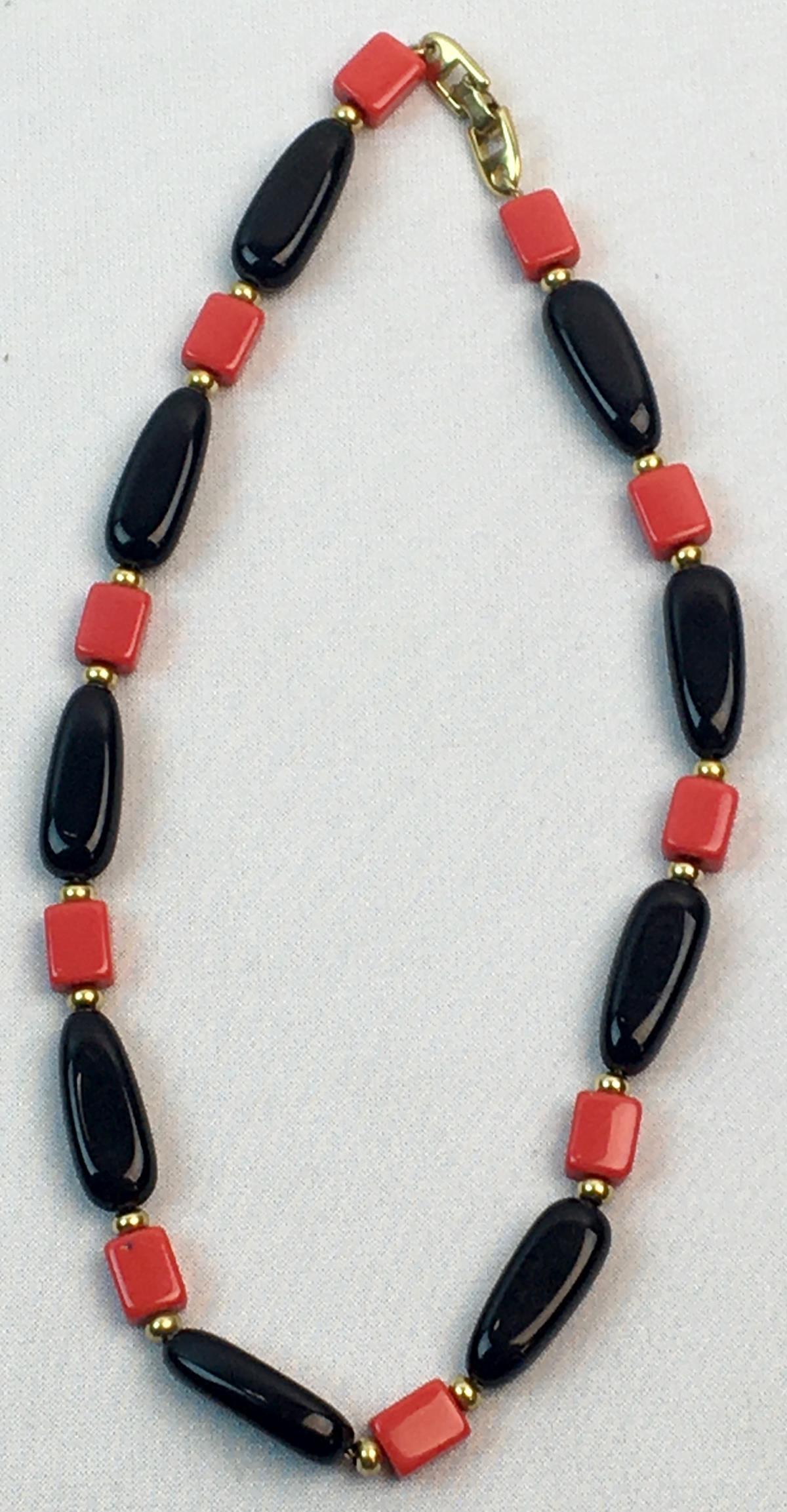 Vintage Signed Napier Black & Red Art Deco Necklace