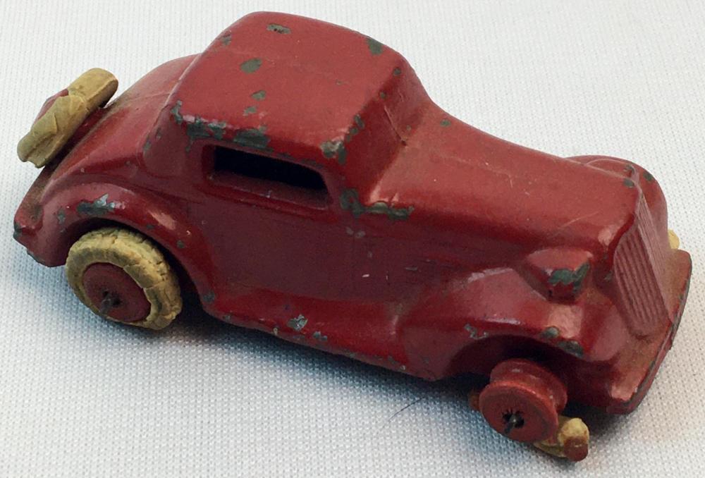 Antique 1930's Slush Mold Red 2 Door Sedan w/ White Rubber Tires