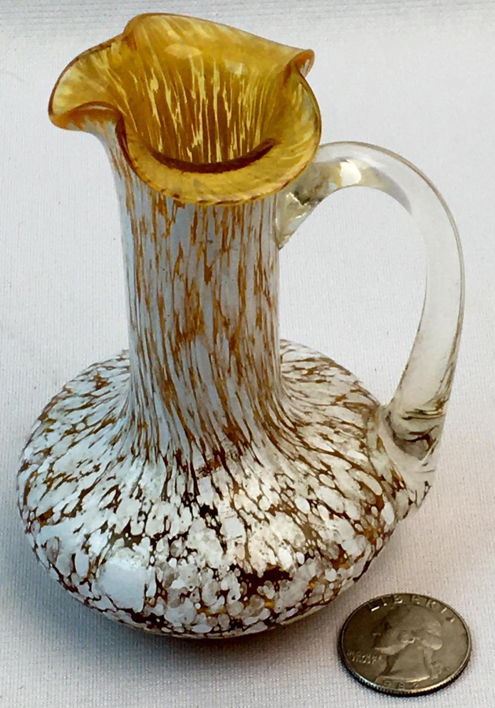 Vintage Amber & White Speckled Stretched Handblown Vase w/ Applied Handle