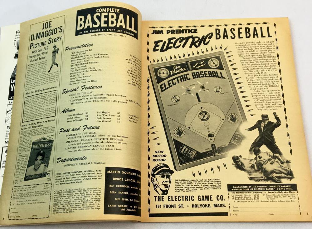 Vintage Fall 1951 Complete Baseball Magazine (Jackie Robinson, Yogi Berra, Bob Feller, Etc. Cover)