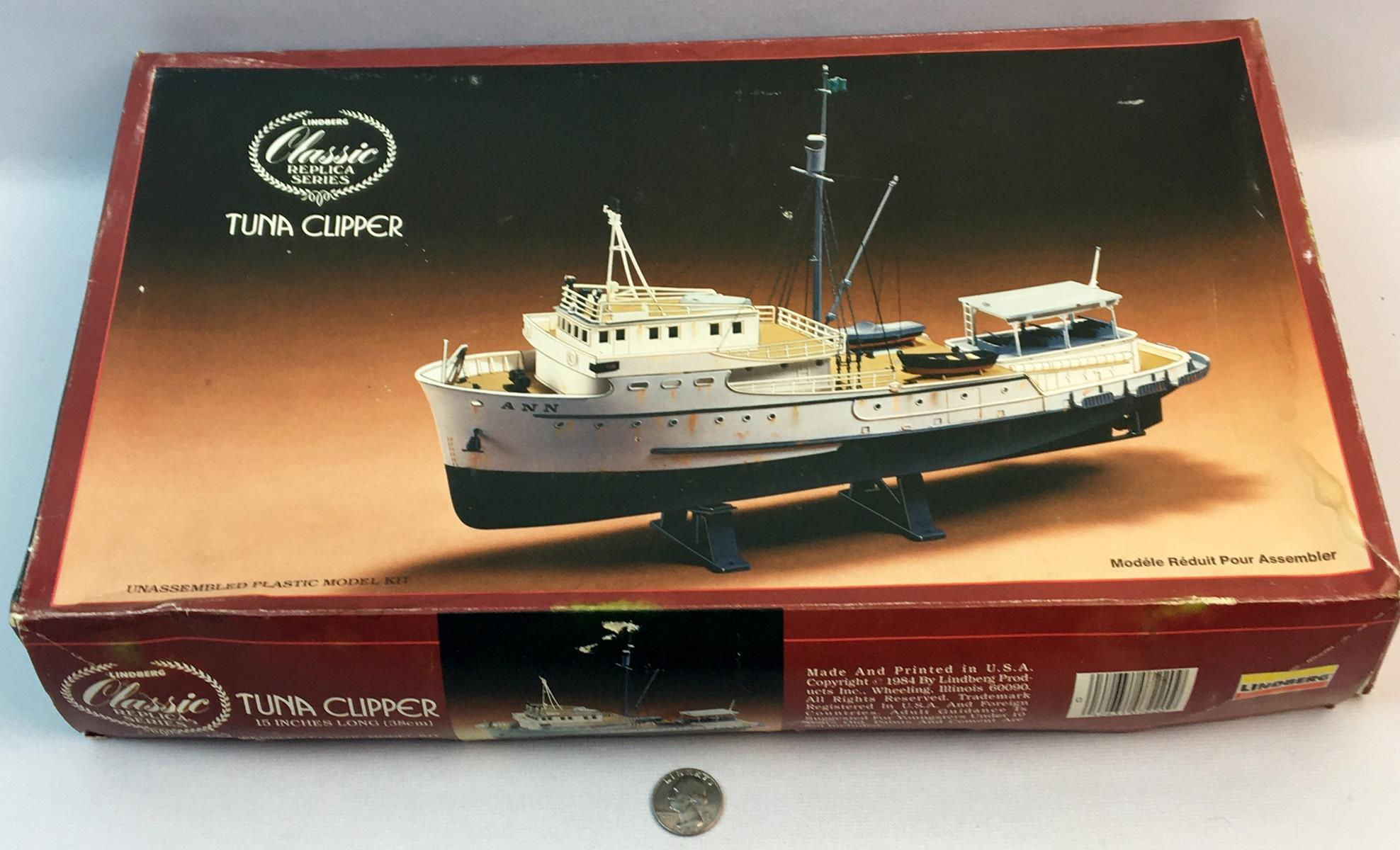 Vintage 1984 Tuna Clipper 1/82 Scale Lindberg Classic Replica Series Model Kit UNBUILT