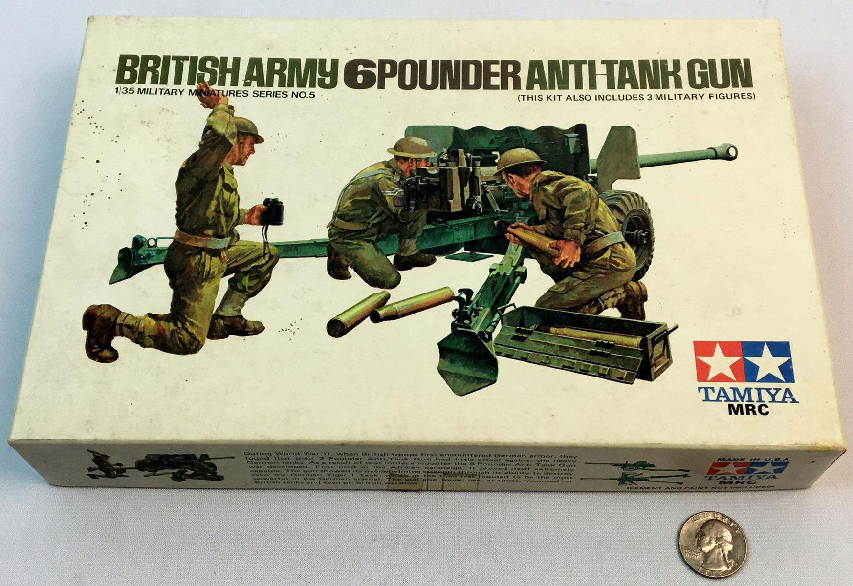 Vintage 1970's British Army 6 Pounder Anti-tank Gun 1/35 Scale Tamiya Model Kit UNBUILT