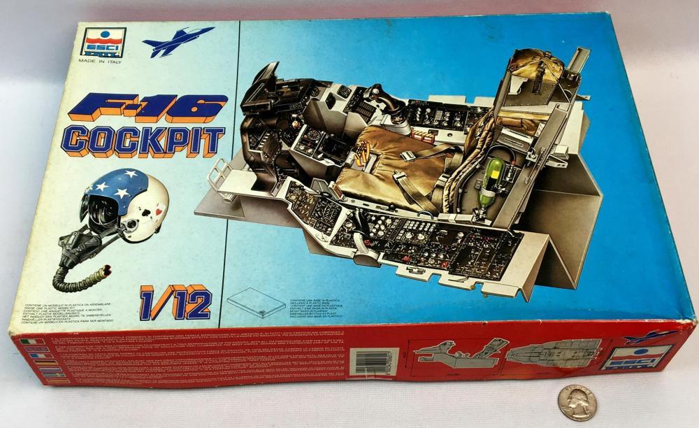 Vintage 1983 U.S.A.F. F-16 Cockpit 1/12 Scale ESCI ERTL Model Kit UNBUILT