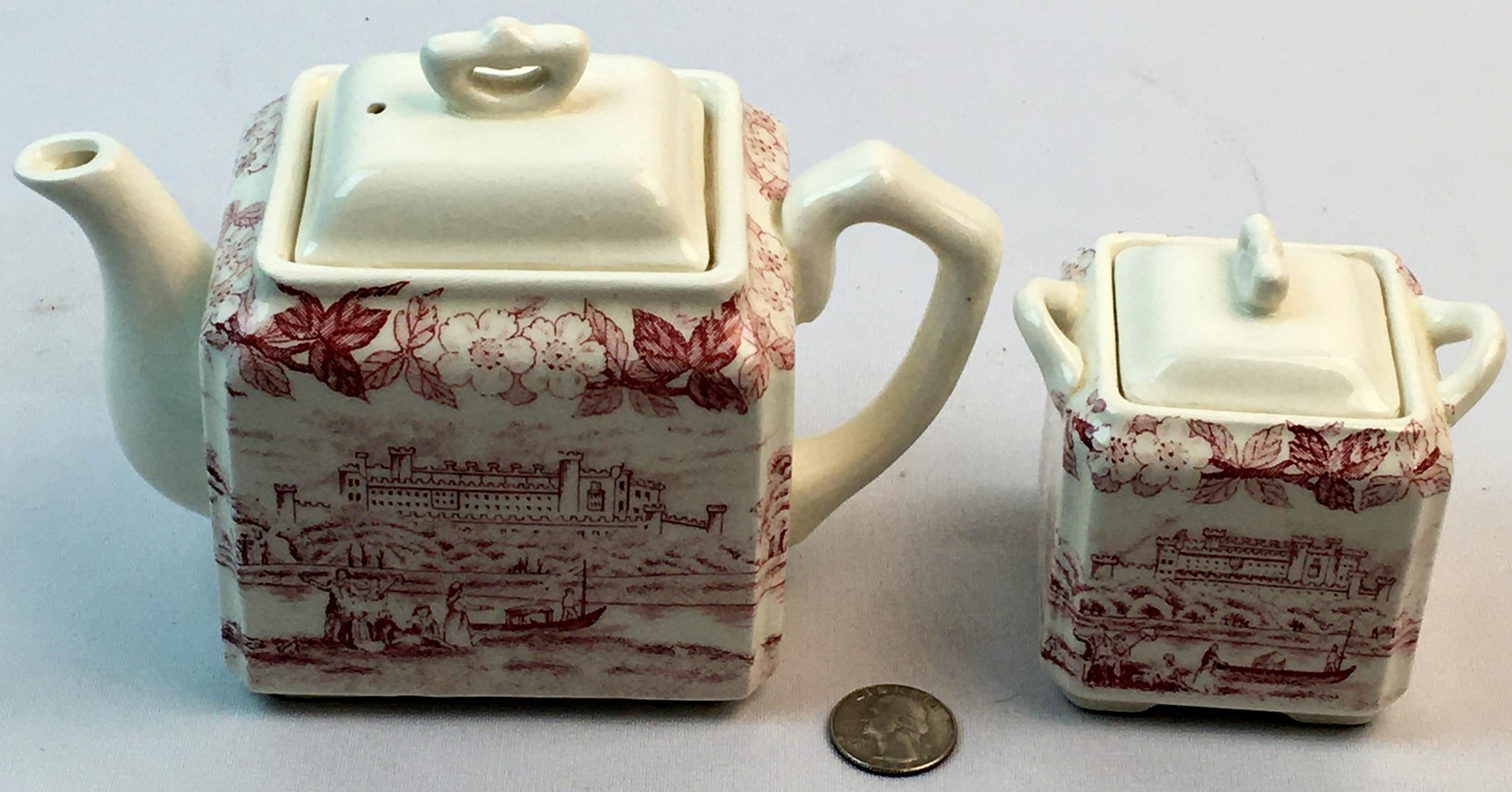 Antique Porcelain Red Transferware Sugar and Creamer w/ River & Castle Scene Pattern