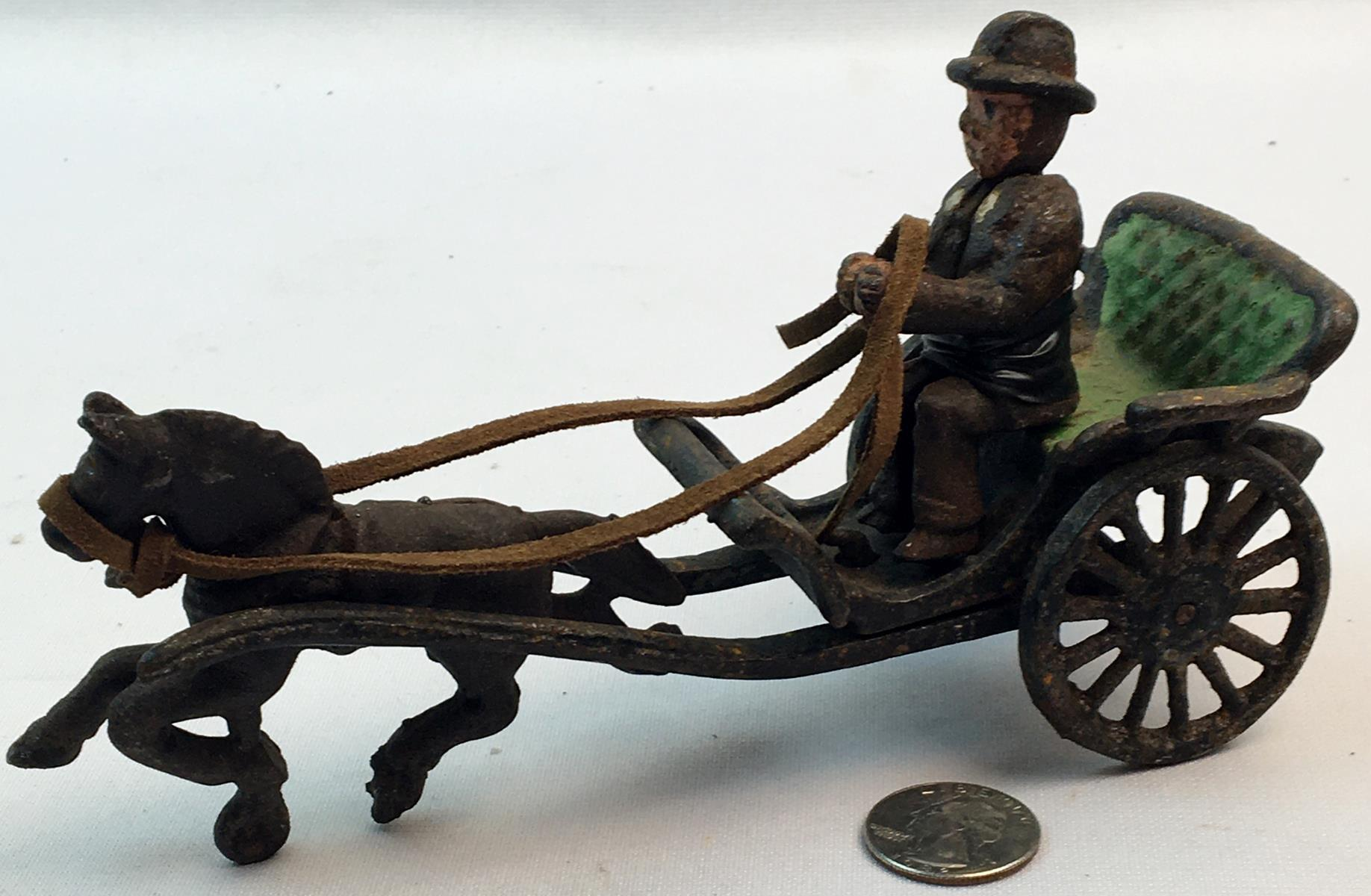 Vintage Cast Iron Horse Drawn Carriage w/ Removeable Driver