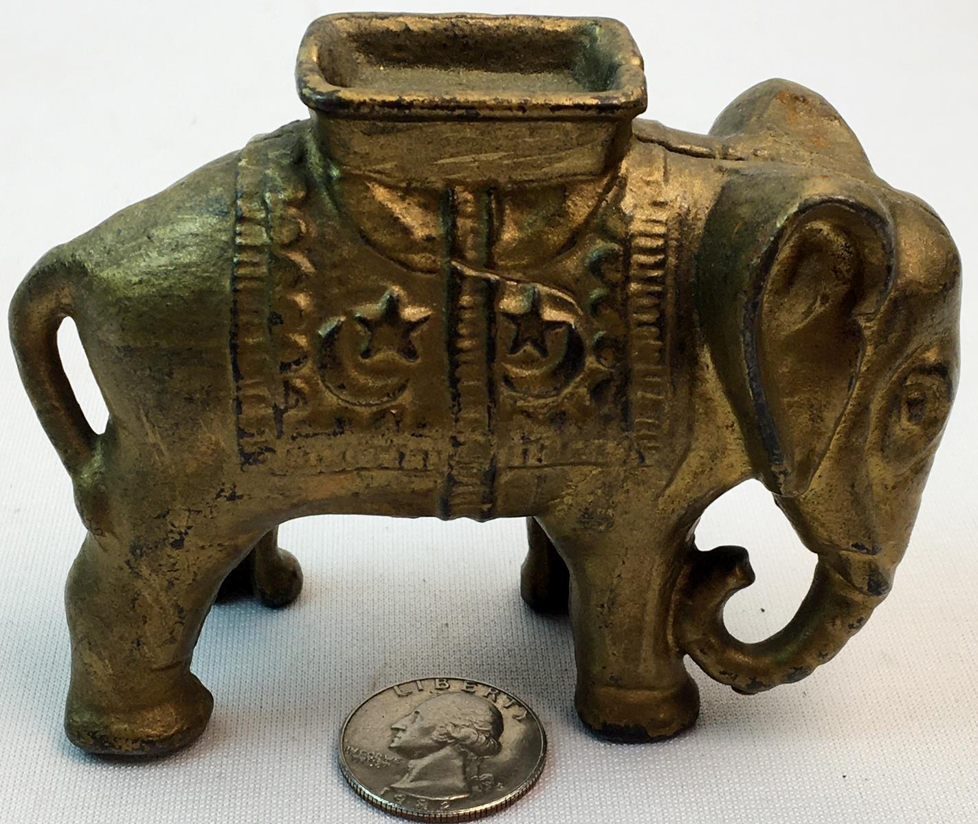 Antique c. 1930 A.C. Williams Elephant With Howdah Cast Iron Still Coin Bank W/ Original Gold Paint