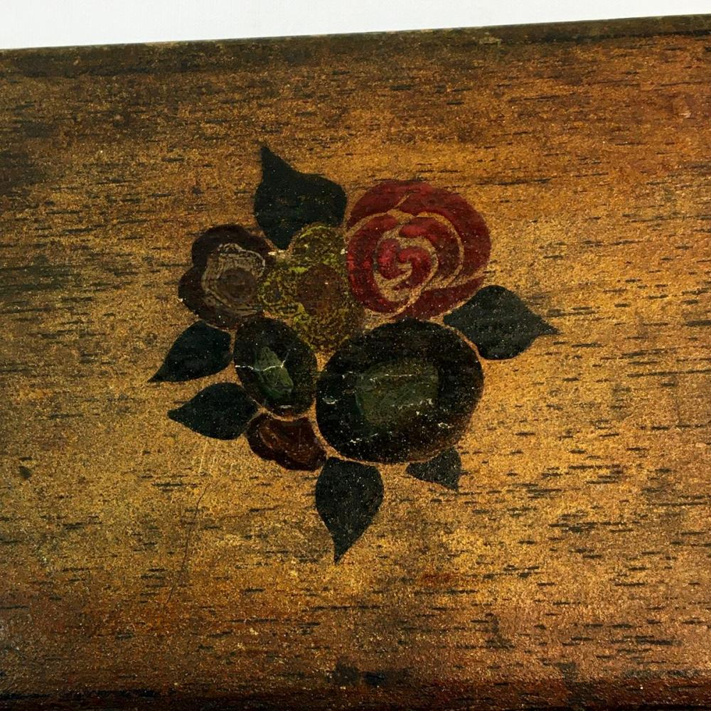 Antique Hand Painted Hinged Lift Top Wood Box / Case