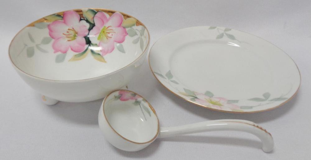 Vintage Noritake Azalea Whipped Cream Bowl W/ Underplate & Ladle