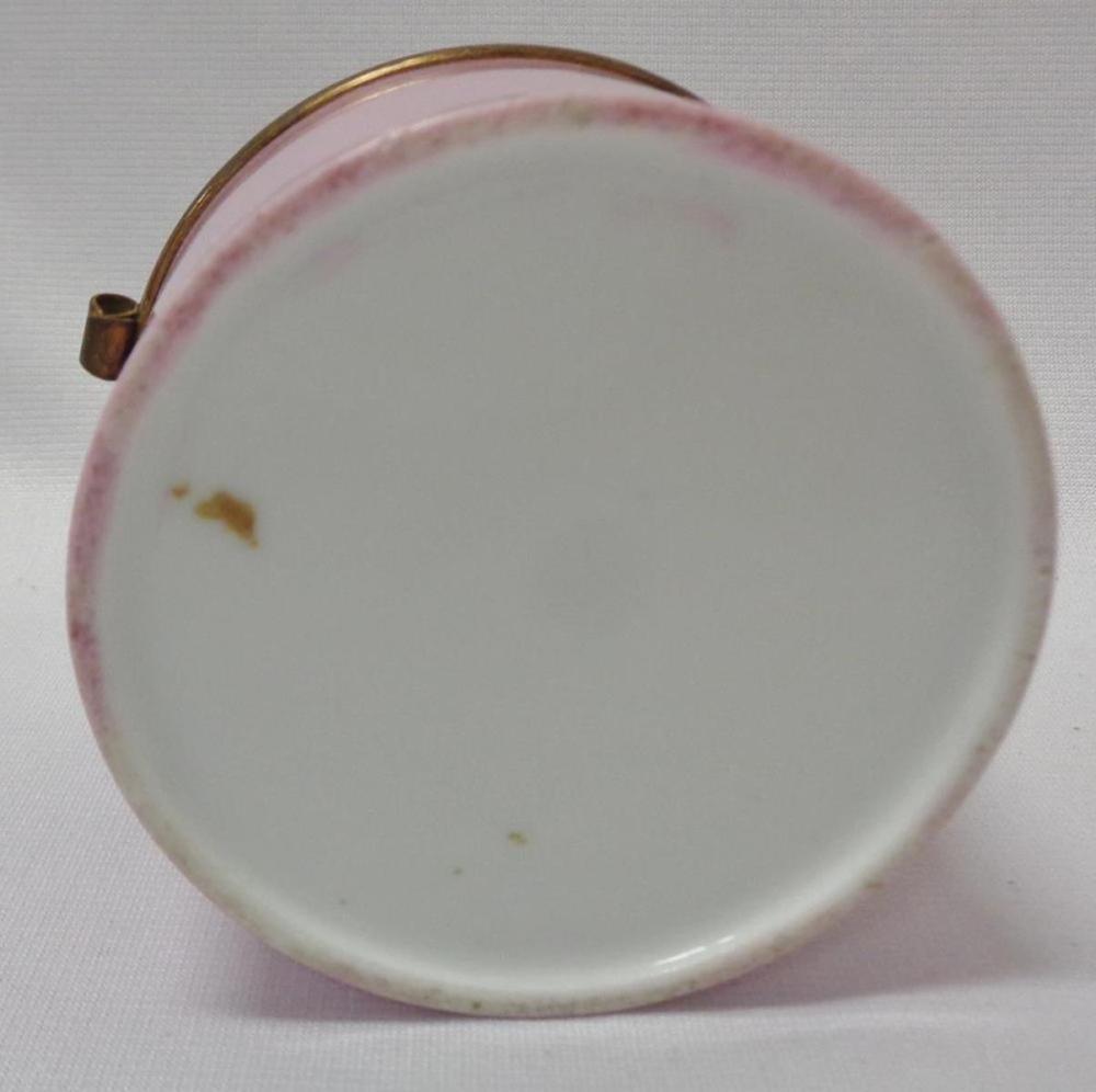 Vintage Porcelain Hinged Top Trinket Box W/ Cherub Design