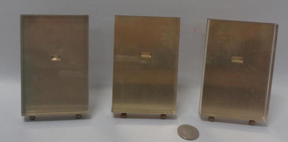 Vintage Lot of 3 Mid Century Lucite & Brass Picture Frames