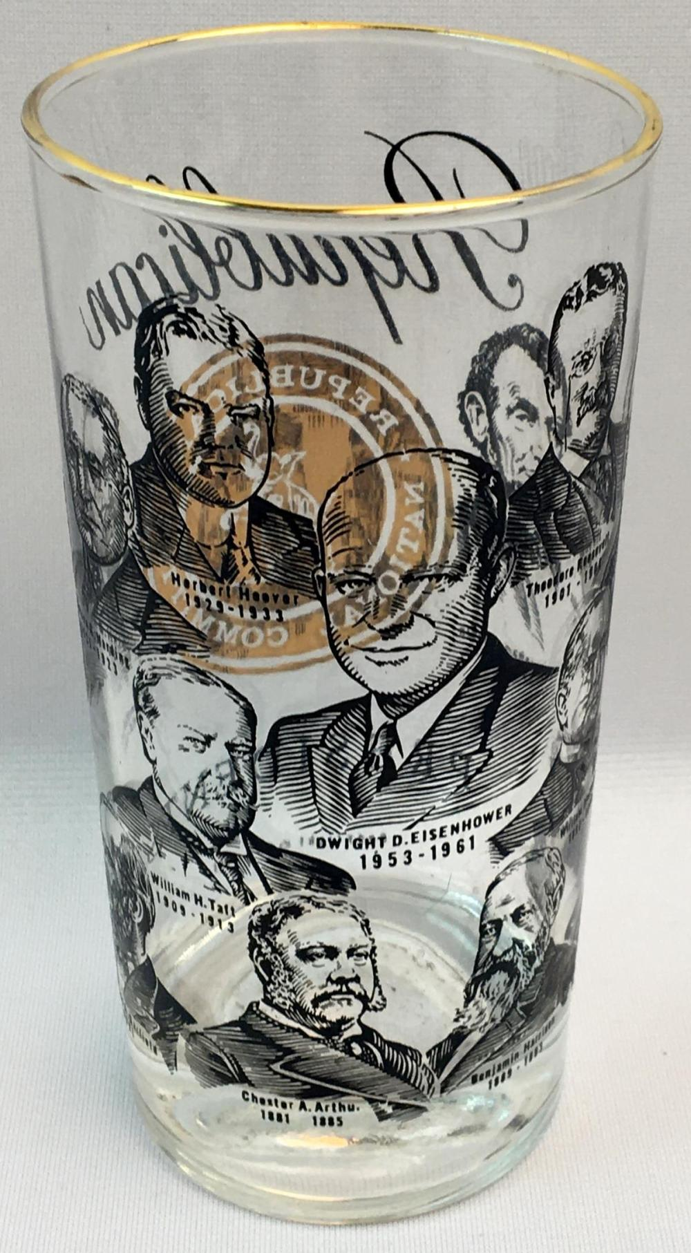 "Vintage 1966 Republican Presidents ""Republican National Committee"" Glass"