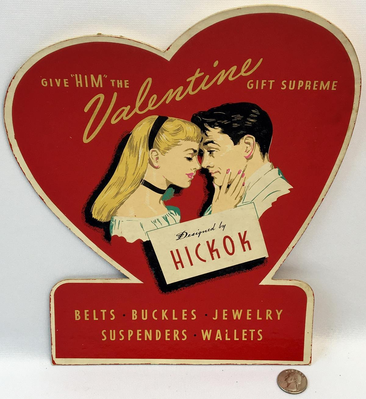 RARE Vintage c. 1930 Hickok Valentine Advertising Cardboard Store Display