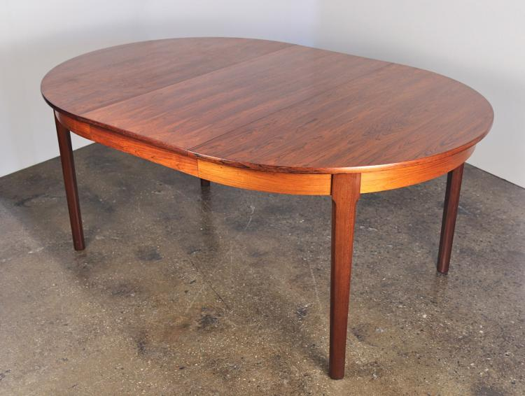 Scandinavian Rosewood Dining Table with Leaf