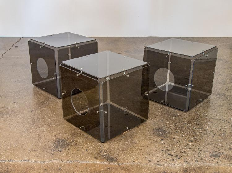 Smoke Glass Cube Occasional Tables by Gerald McCabe