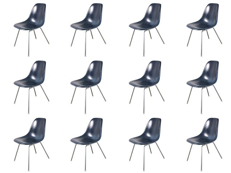 Vintage Navy Blue Eames Shell Chairs