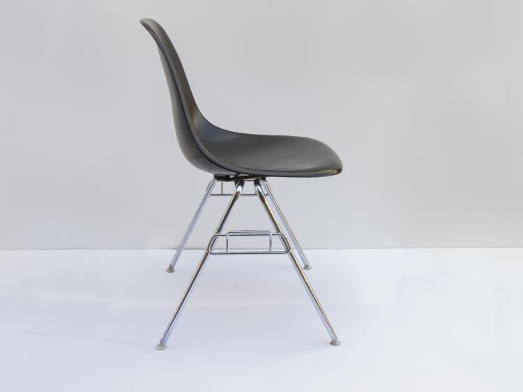 black eames shell chairs on stacking bases