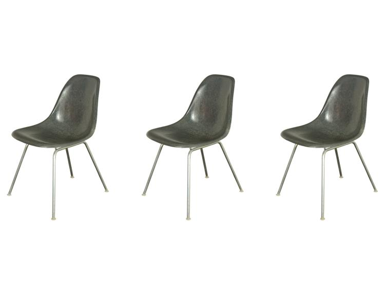 Elephant Gray Eames Fiberglass Shell Chairs for Herman Miller