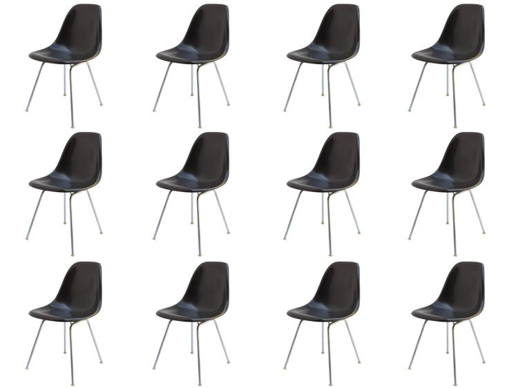Black Eames Shell Chairs on H Bases for Herman Miller