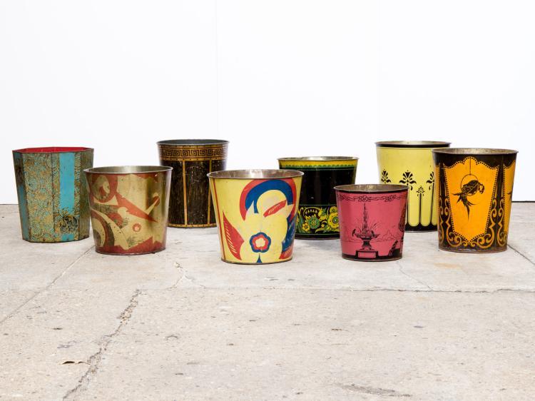 Eight Mid-Century Tin Wastepaper Baskets