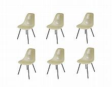 6 Parchment Shell Chairs by Charles and Ray Eames