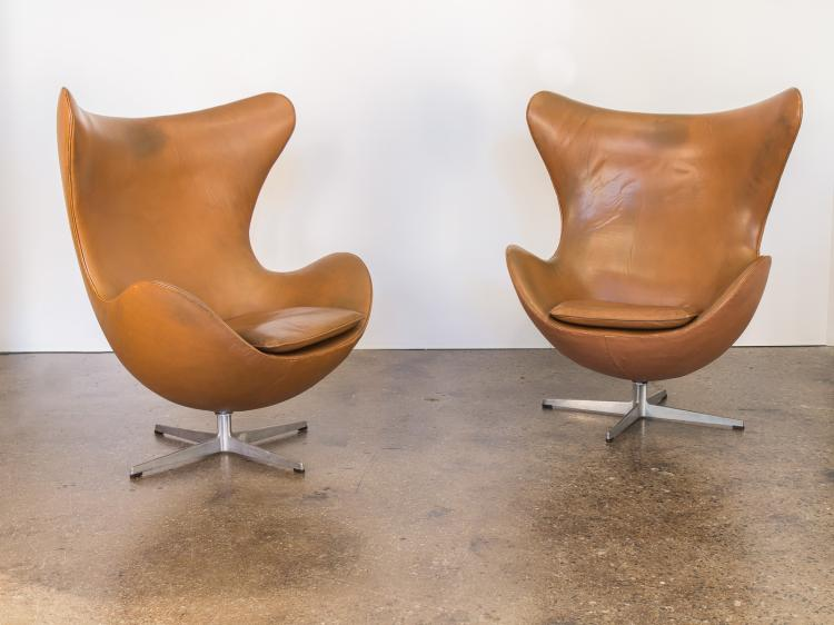 Vintage Leather Egg Chairs by Arne Jacobsen
