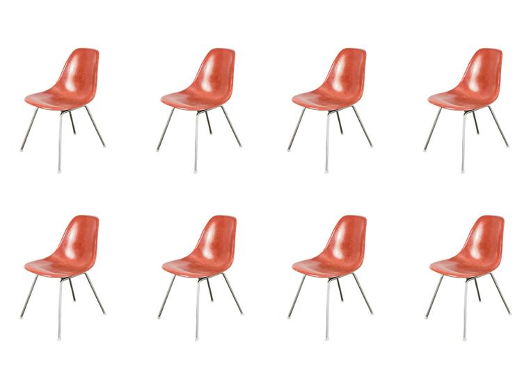1960s Eames Terracotta Shell Chairs