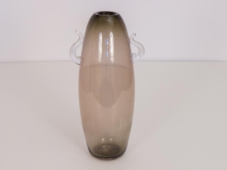 Tall Smoked Scandinavian Glass Vase