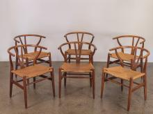 Set of Six Wegner Wishbone CH-24 Dining Chairs for Carl Hansen & Son