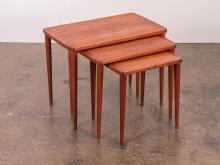 Scandinavian Modern Teak Nesting Tables with Tapered Legs