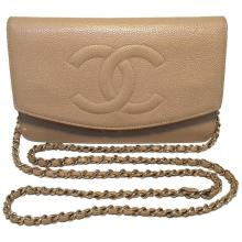 Chanel Vintage Nude Caviar Leather Wallet on Chain WOC
