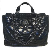 Chanel Black Leather and Tweed Shoulder Bag Tote