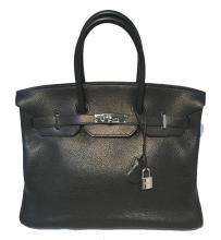 Hermes Black Clemence Leather 35cm Birkin Bag