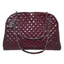 Chanel Quilted Maroon Patent Leather Shoulder Bag Tote