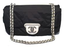 Chanel Black and White Raincoat Classic Flap Shoulder Bag