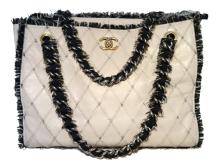 Chanel Light Grey Leather and Tweed Trim Shoulder Bag Tote