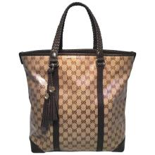 Gucci Coated Monogram and Brown Braided Leather Trim Tassel Tote
