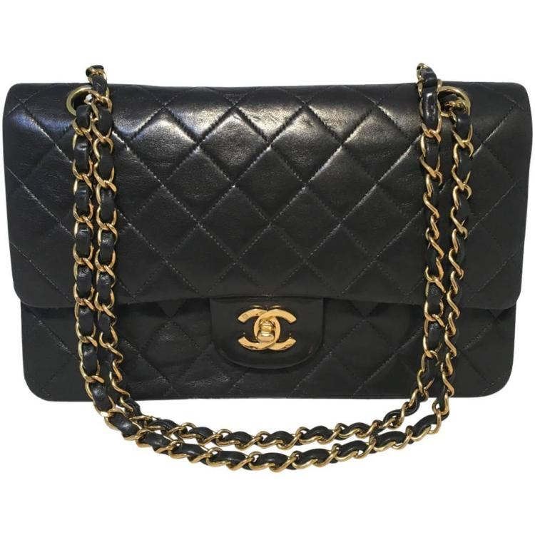 Chanel Black Lambskin 10inch 2.55 Double Flap Classic Shoulder Bag