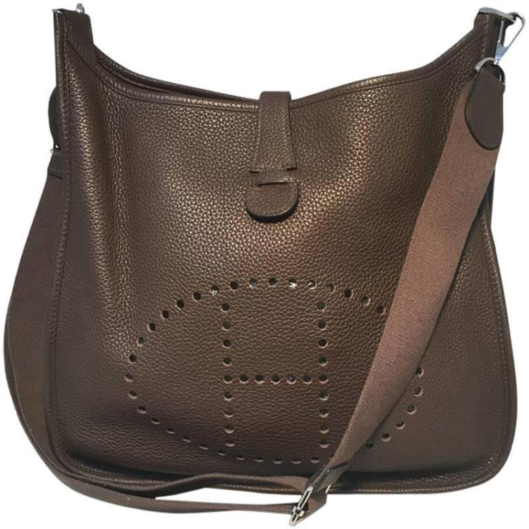 Hermes Cafe Brown Taurillon Clemence Leather Evelyne III GM Shoulder Bag