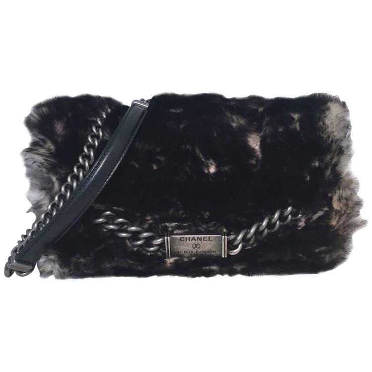 RARE Chanel Chinchilla Fur Classic Flap Shoulder Bag