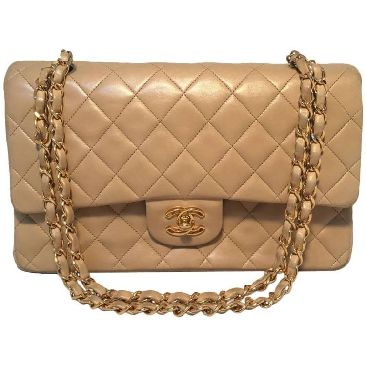 Chanel Beige Lambskin Double Flap Classic 2.55 Shoulder Bag