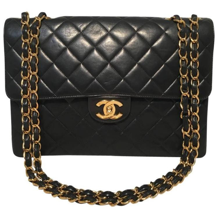 Chanel Black Quilted Leather Maxi Classic Flap Shoulder Bag