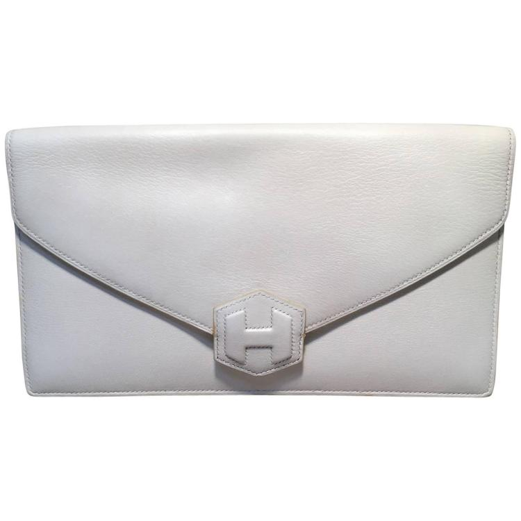 RARE Hermes Vintage White Leather Clutch