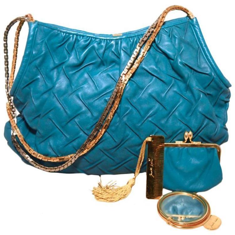 Judith Leiber Vintage Teal Pinched Leather Shoulder Bag