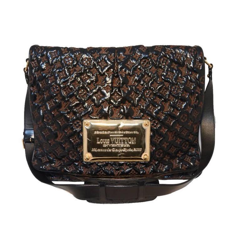 Louis Vuitton Patent Leather Embossed Logo XL Messenger Bag-RARE
