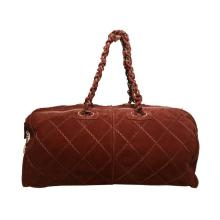 Chanel Maroon Suede Quilted Leather Duffel Tote Bag
